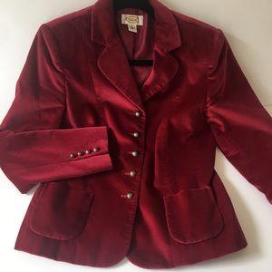 🎄 Vintage Talbots Velvet Cranberry Blazer 🎄